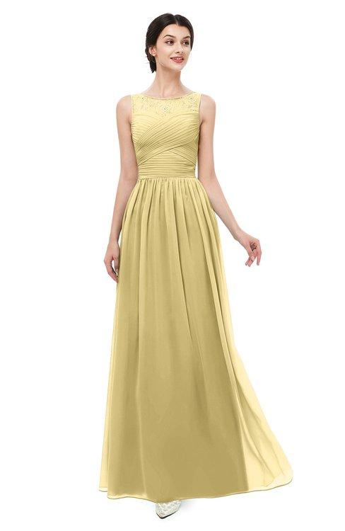 ColsBM Skyler Gold Bridesmaid Dresses Sheer A-line Sleeveless Classic Ruching Zipper