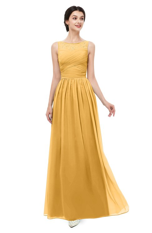 ColsBM Skyler Golden Cream Bridesmaid Dresses Sheer A-line Sleeveless Classic Ruching Zipper