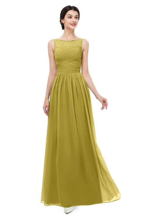 ColsBM Skyler Golden Olive Bridesmaid Dresses Sheer A-line Sleeveless Classic Ruching Zipper