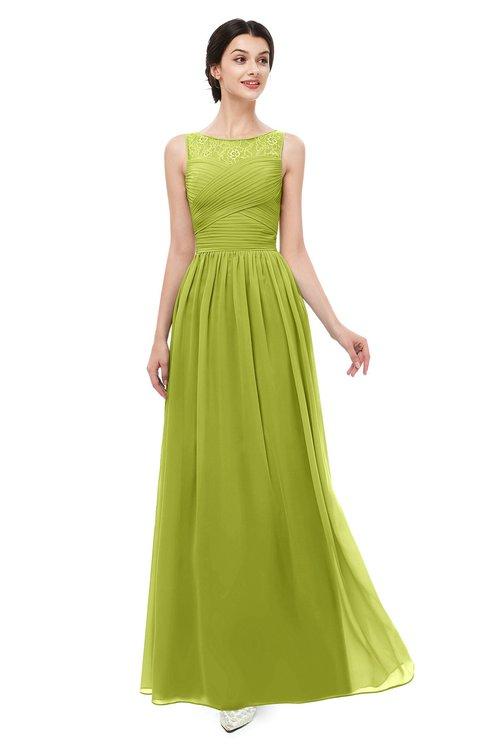 ColsBM Skyler Green Oasis Bridesmaid Dresses Sheer A-line Sleeveless Classic Ruching Zipper