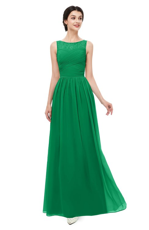 ColsBM Skyler Green Bridesmaid Dresses Sheer A-line Sleeveless Classic Ruching Zipper