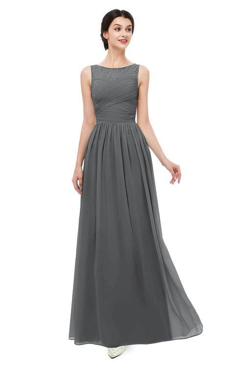 ColsBM Skyler Grey Bridesmaid Dresses Sheer A-line Sleeveless Classic Ruching Zipper