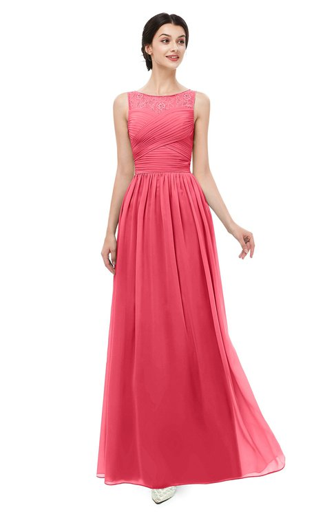 ColsBM Skyler Guava Bridesmaid Dresses Sheer A-line Sleeveless Classic Ruching Zipper