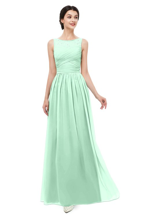 ColsBM Skyler Honeydew Bridesmaid Dresses Sheer A-line Sleeveless Classic Ruching Zipper