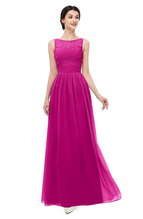 ColsBM Skyler Hot Pink Bridesmaid Dresses Sheer A-line Sleeveless Classic Ruching Zipper