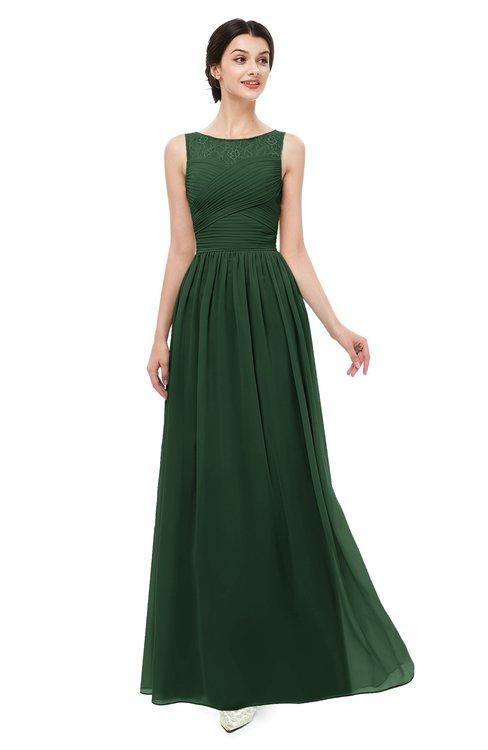 ColsBM Skyler Hunter Green Bridesmaid Dresses Sheer A-line Sleeveless Classic Ruching Zipper