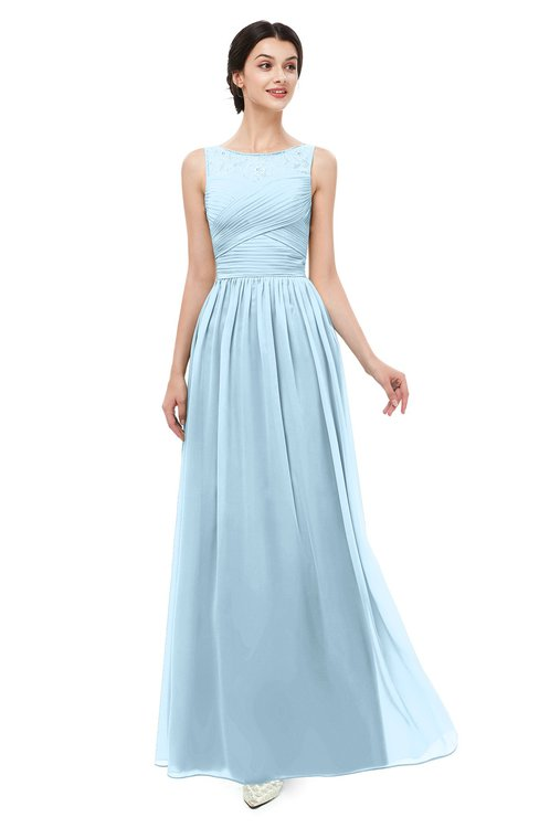 ColsBM Skyler Ice Blue Bridesmaid Dresses Sheer A-line Sleeveless Classic Ruching Zipper