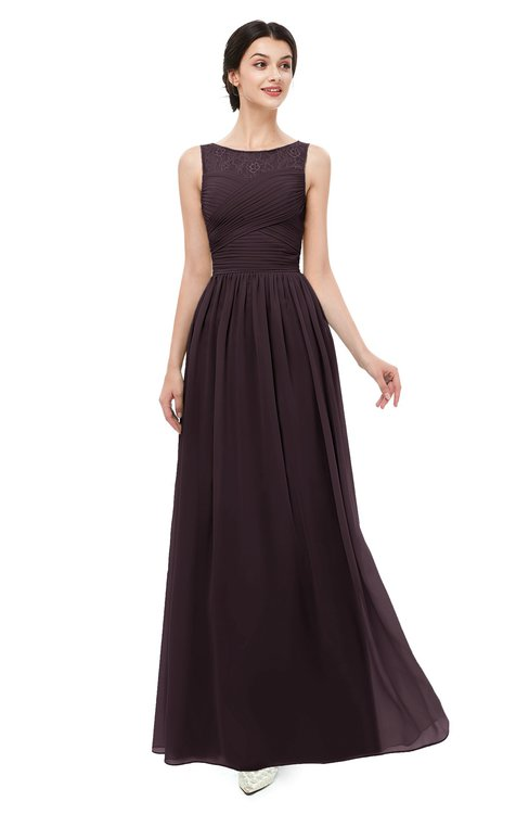ColsBM Skyler Italian Plum Bridesmaid Dresses Sheer A-line Sleeveless Classic Ruching Zipper