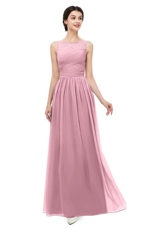 ColsBM Skyler Light Coral Bridesmaid Dresses Sheer A-line Sleeveless Classic Ruching Zipper