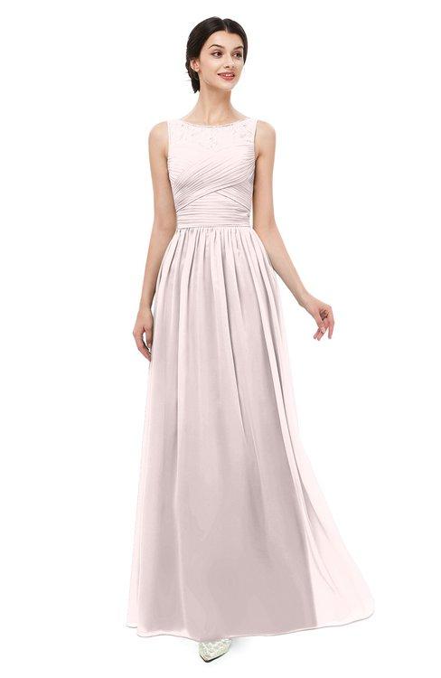 ColsBM Skyler Light Pink Bridesmaid Dresses Sheer A-line Sleeveless Classic Ruching Zipper