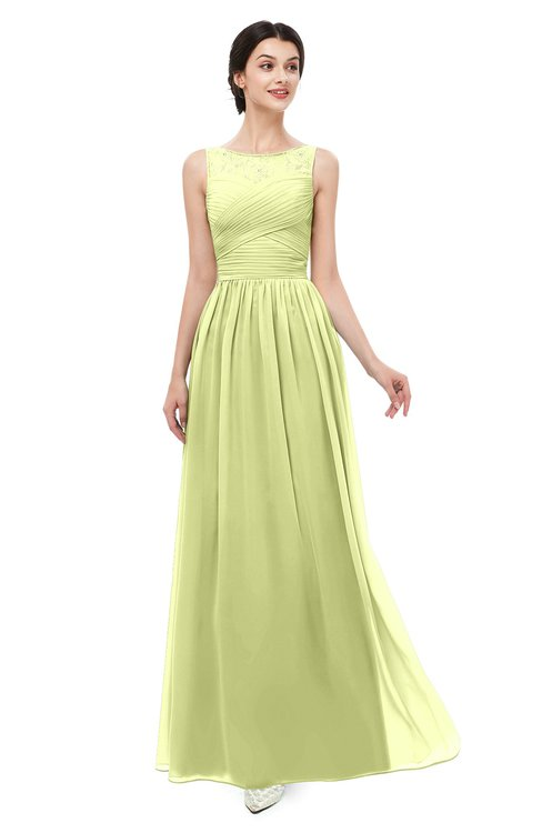 ColsBM Skyler Lime Green Bridesmaid Dresses Sheer A-line Sleeveless Classic Ruching Zipper
