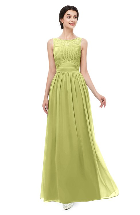 ColsBM Skyler Linden Green Bridesmaid Dresses Sheer A-line Sleeveless Classic Ruching Zipper