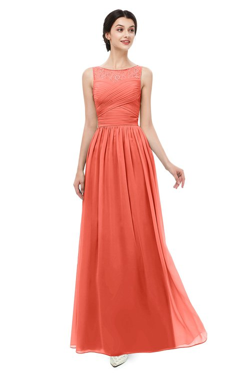 ColsBM Skyler Living Coral Bridesmaid Dresses Sheer A-line Sleeveless Classic Ruching Zipper