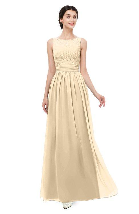 ColsBM Skyler Marzipan Bridesmaid Dresses Sheer A-line Sleeveless Classic Ruching Zipper