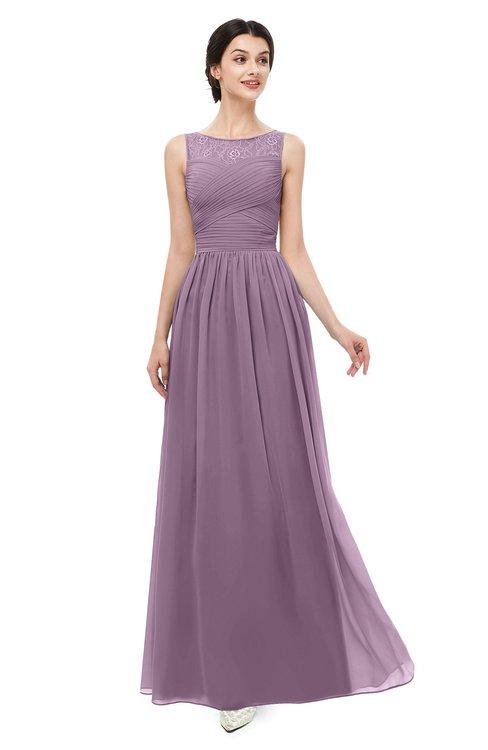 ColsBM Skyler Mauve Bridesmaid Dresses Sheer A-line Sleeveless Classic Ruching Zipper