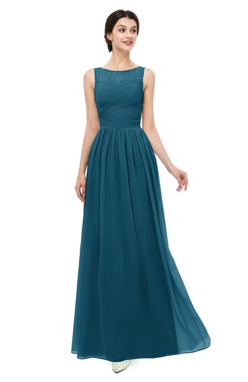 ColsBM Skyler Moroccan Blue Bridesmaid Dresses Sheer A-line Sleeveless Classic Ruching Zipper