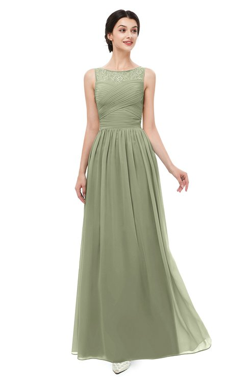 ColsBM Skyler Moss Green Bridesmaid Dresses Sheer A-line Sleeveless Classic Ruching Zipper