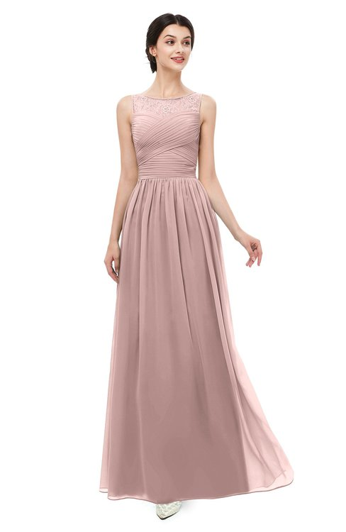 ColsBM Skyler Nectar Pink Bridesmaid Dresses Sheer A-line Sleeveless Classic Ruching Zipper