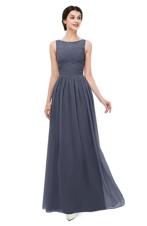 ColsBM Skyler Nightshadow Blue Bridesmaid Dresses Sheer A-line Sleeveless Classic Ruching Zipper