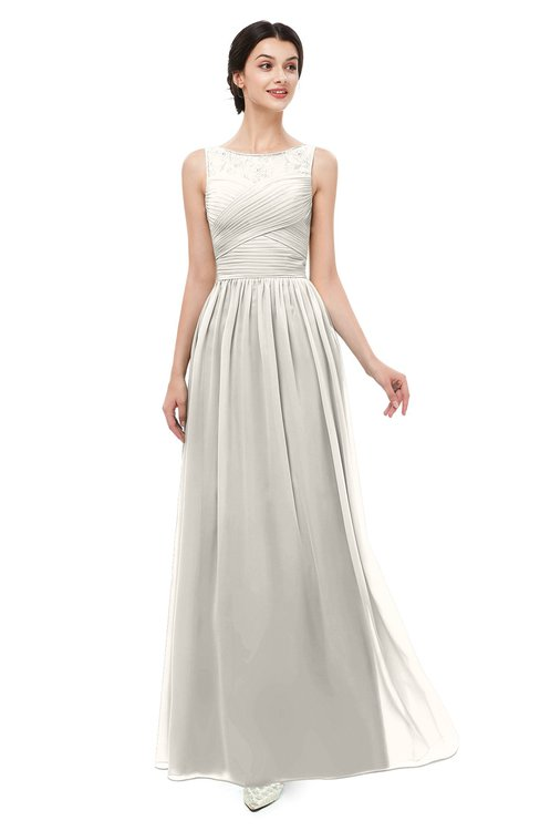 ColsBM Skyler Off White Bridesmaid Dresses Sheer A-line Sleeveless Classic Ruching Zipper