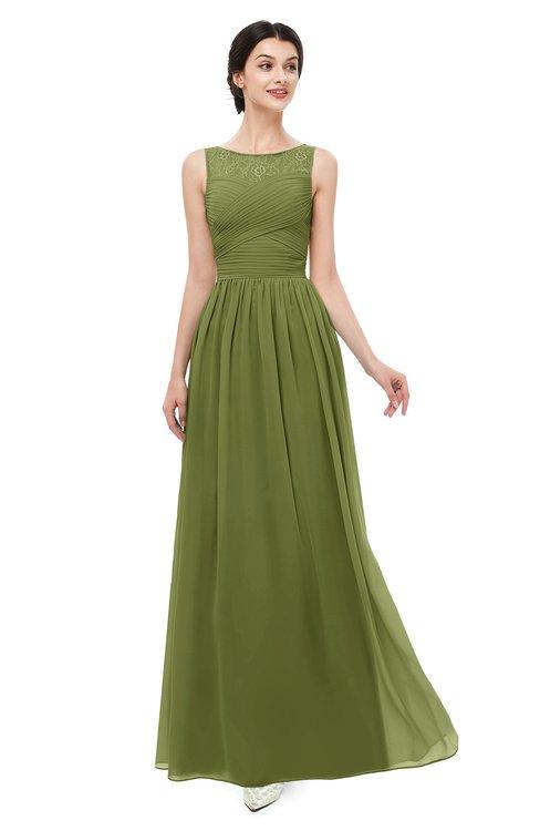 ColsBM Skyler Olive Green Bridesmaid Dresses Sheer A-line Sleeveless Classic Ruching Zipper