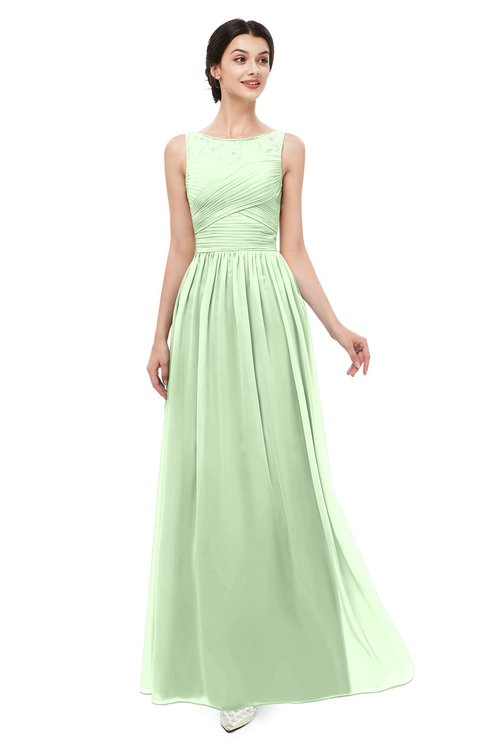 ColsBM Skyler Pale Green Bridesmaid Dresses Sheer A-line Sleeveless Classic Ruching Zipper