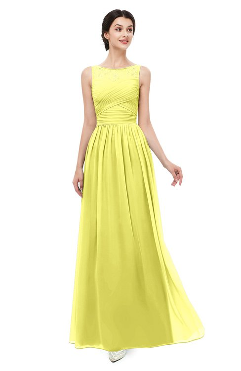 ColsBM Skyler Pale Yellow Bridesmaid Dresses Sheer A-line Sleeveless Classic Ruching Zipper