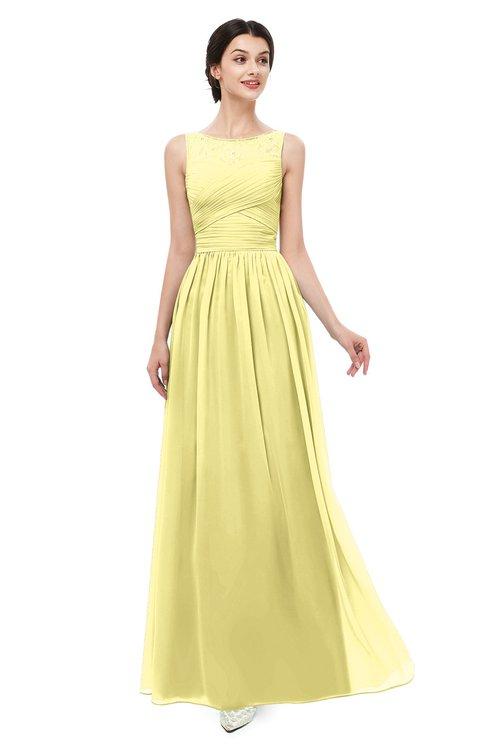 ColsBM Skyler Pastel Yellow Bridesmaid Dresses Sheer A-line Sleeveless Classic Ruching Zipper