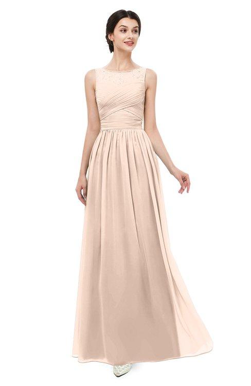 ColsBM Skyler Peach Puree Bridesmaid Dresses Sheer A-line Sleeveless Classic Ruching Zipper