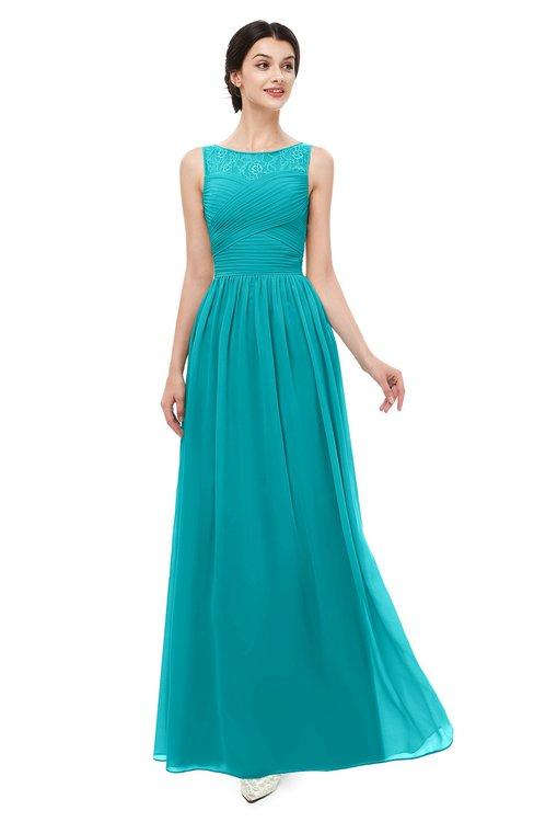 ColsBM Skyler Peacock Blue Bridesmaid Dresses Sheer A-line Sleeveless Classic Ruching Zipper