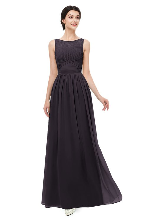 ColsBM Skyler Perfect Plum Bridesmaid Dresses Sheer A-line Sleeveless Classic Ruching Zipper