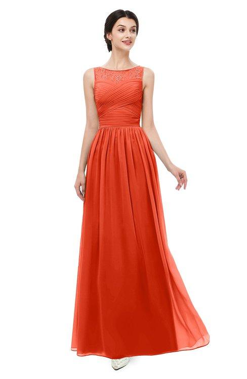 ColsBM Skyler Persimmon Bridesmaid Dresses Sheer A-line Sleeveless Classic Ruching Zipper