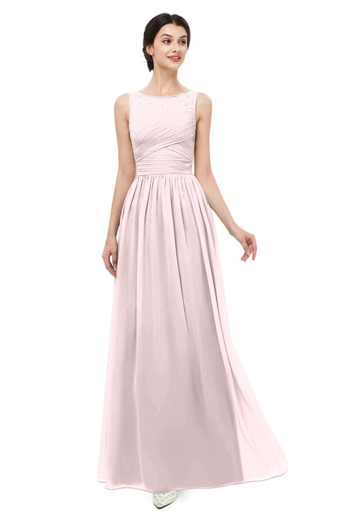 ColsBM Skyler Petal Pink Bridesmaid Dresses Sheer A-line Sleeveless Classic Ruching Zipper