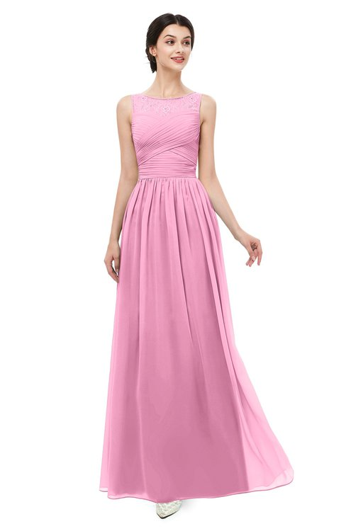 ColsBM Skyler Pink Bridesmaid Dresses Sheer A-line Sleeveless Classic Ruching Zipper