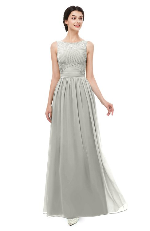 ColsBM Skyler Platinum Bridesmaid Dresses Sheer A-line Sleeveless Classic Ruching Zipper