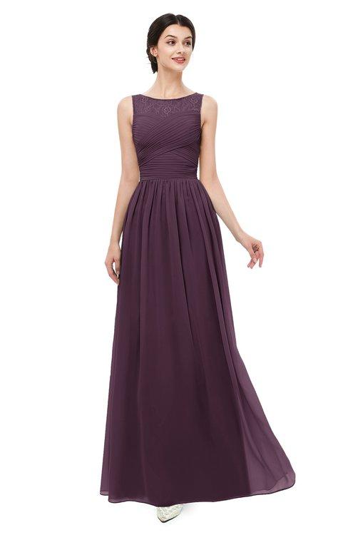 ColsBM Skyler Plum Bridesmaid Dresses Sheer A-line Sleeveless Classic Ruching Zipper