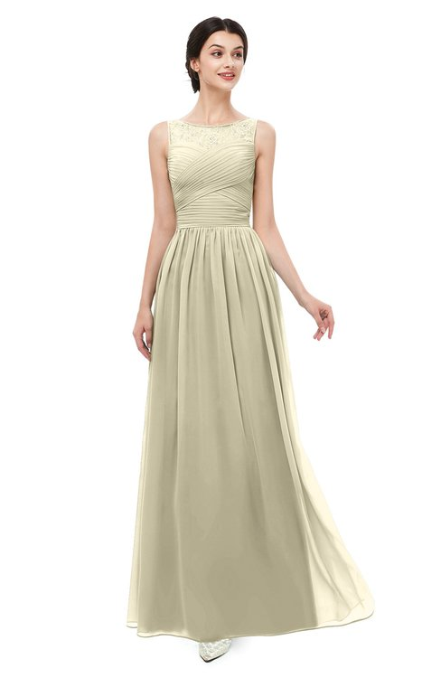 ColsBM Skyler Putty Bridesmaid Dresses Sheer A-line Sleeveless Classic Ruching Zipper