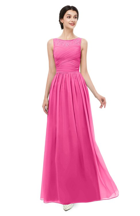 ColsBM Skyler Rose Pink Bridesmaid Dresses Sheer A-line Sleeveless Classic Ruching Zipper