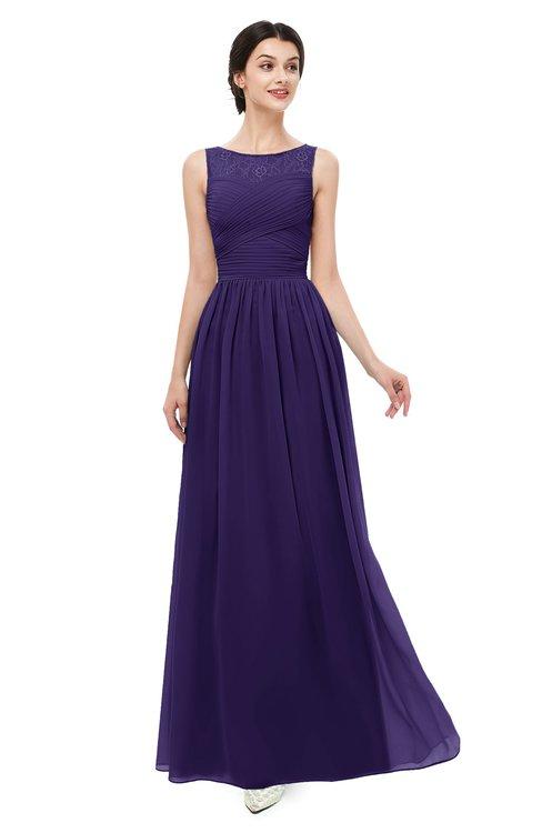 ColsBM Skyler Royal Purple Bridesmaid Dresses Sheer A-line Sleeveless Classic Ruching Zipper
