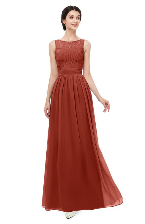 ColsBM Skyler Rust Bridesmaid Dresses Sheer A-line Sleeveless Classic Ruching Zipper