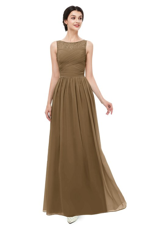 ColsBM Skyler Truffle Bridesmaid Dresses Sheer A-line Sleeveless Classic Ruching Zipper