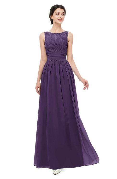 ColsBM Skyler Violet Bridesmaid Dresses Sheer A-line Sleeveless Classic Ruching Zipper