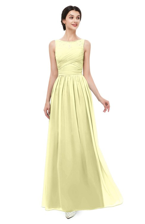 ColsBM Skyler Wax Yellow Bridesmaid Dresses Sheer A-line Sleeveless Classic Ruching Zipper