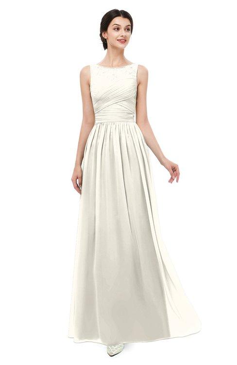ColsBM Skyler Whisper White Bridesmaid Dresses Sheer A-line Sleeveless Classic Ruching Zipper