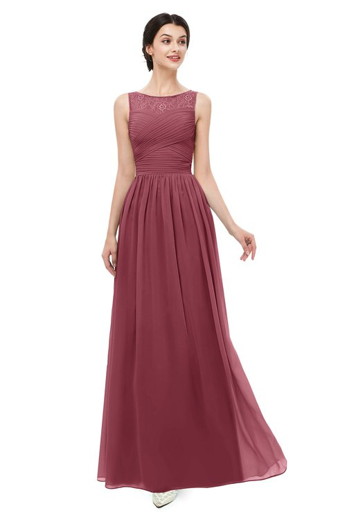ColsBM Skyler Wine Bridesmaid Dresses Sheer A-line Sleeveless Classic Ruching Zipper