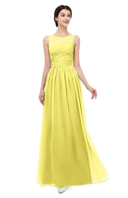 ColsBM Skyler Yellow Iris Bridesmaid Dresses Sheer A-line Sleeveless Classic Ruching Zipper