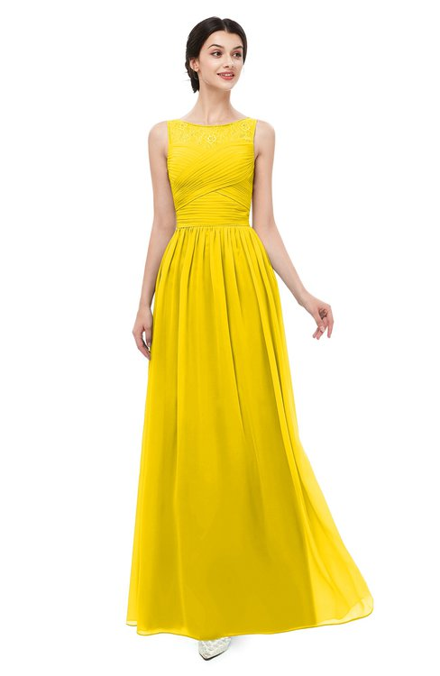 ColsBM Skyler Yellow Bridesmaid Dresses Sheer A-line Sleeveless Classic Ruching Zipper