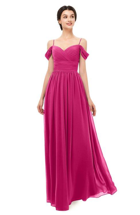ColsBM Angel Beetroot Purple Bridesmaid Dresses Short Sleeve Elegant A-line Ruching Floor Length Backless