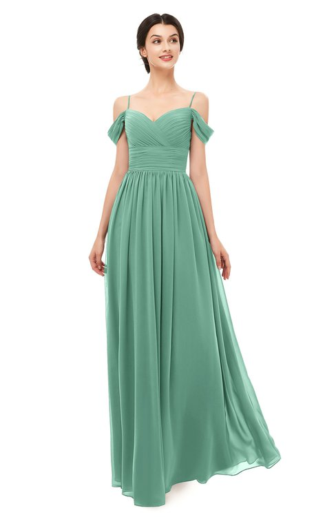 ColsBM Angel Beryl Green Bridesmaid Dresses Short Sleeve Elegant A-line Ruching Floor Length Backless