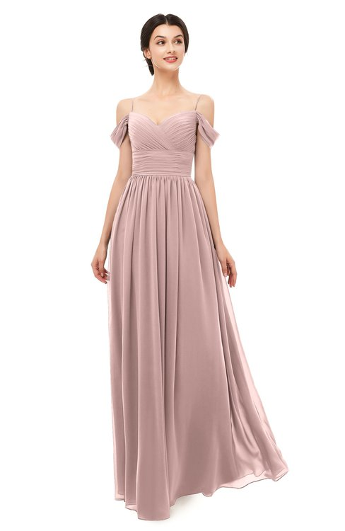 ColsBM Angel Blush Pink Bridesmaid Dresses Short Sleeve Elegant A-line Ruching Floor Length Backless